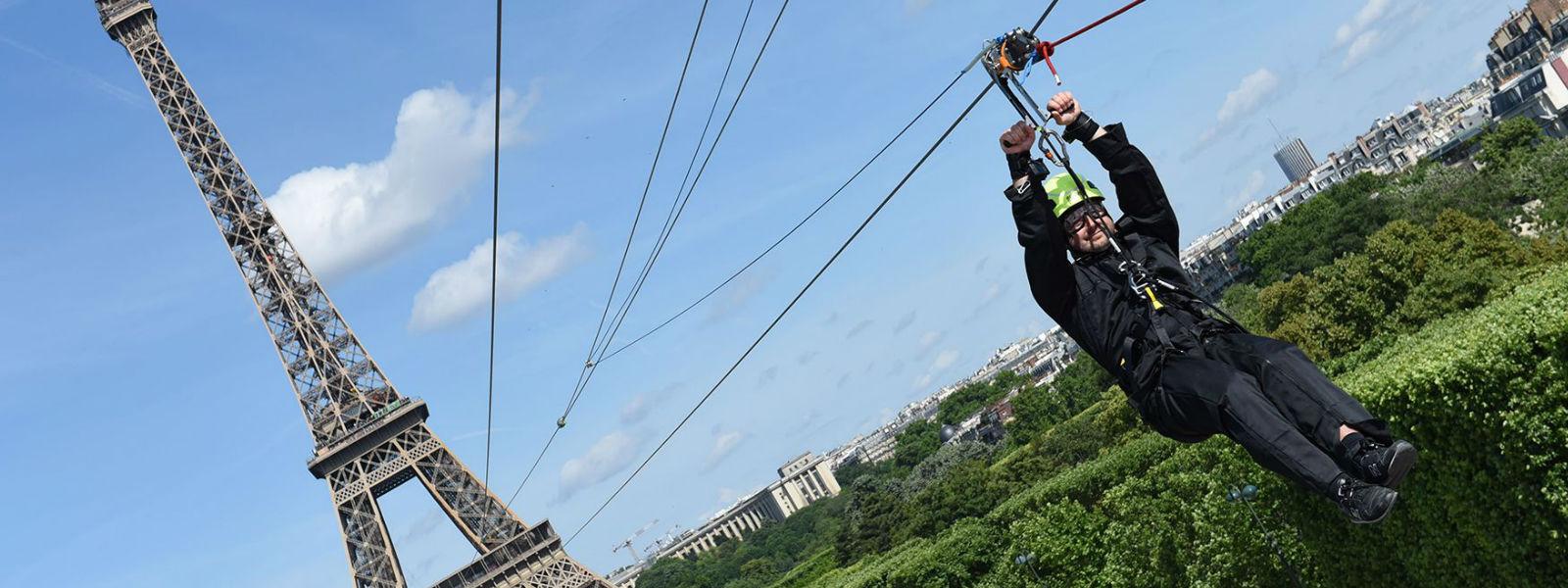 """Once in a lifetime"" Eiffel Tower zipline celebrates French Open"
