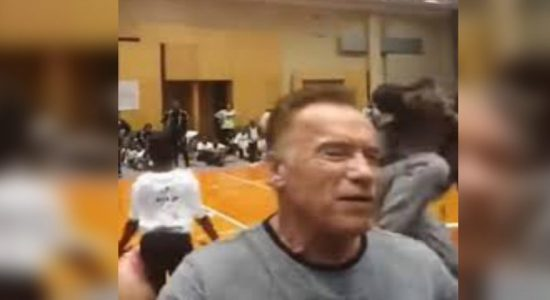 Arnold Schwarzenegger unexpectedly kicked in the back in South Africa