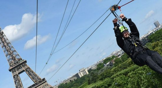 """Once in a lifetime"" Eiffel Tower zipline celebrates French Open"