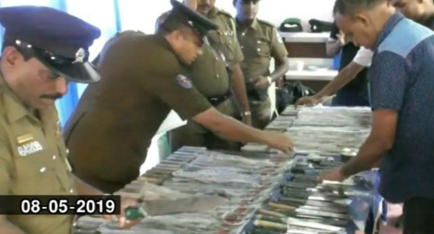 Swords, knives and firearms discovered in Maligawatte well