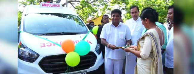 Ambulance donated to rural hospital in Ambalantota