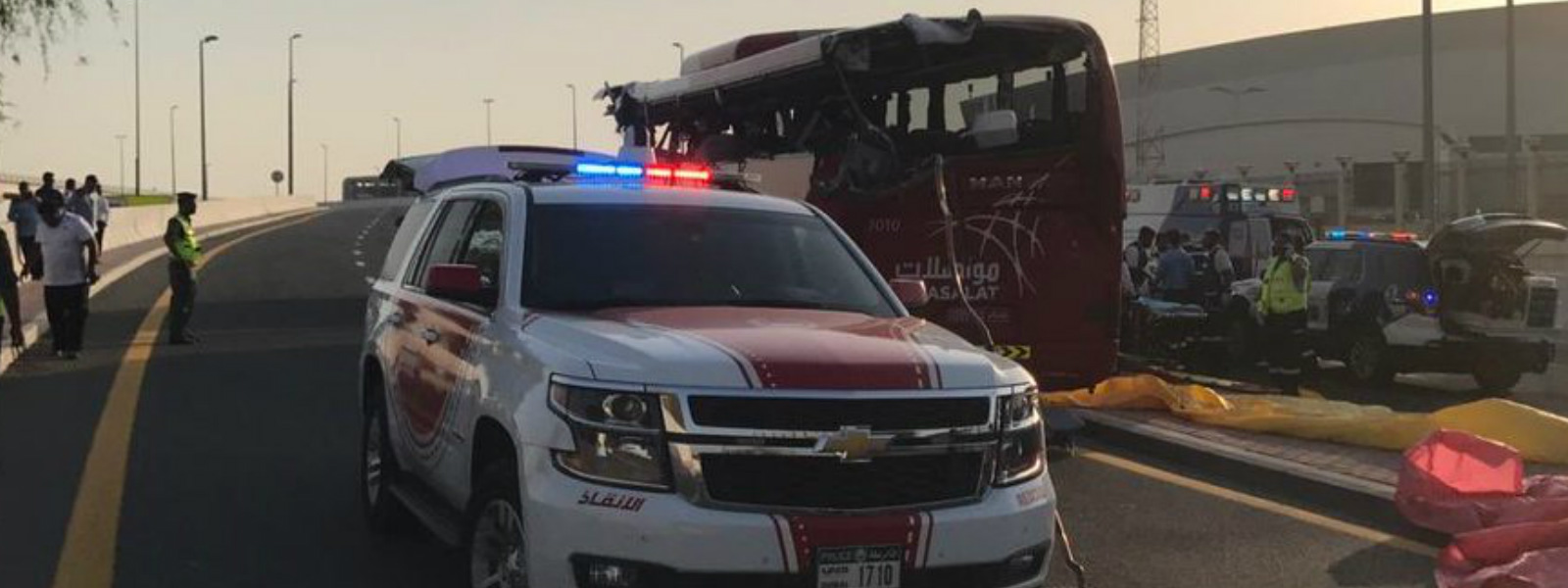 Dubai bus crash: 17 dead after bus hits overhead sign