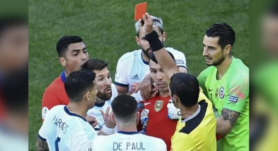 Messi gets second red card of career in clash with Chile