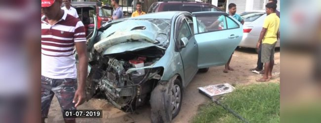 Driver falls asleep at wheel and crashes into wall at Kalutara