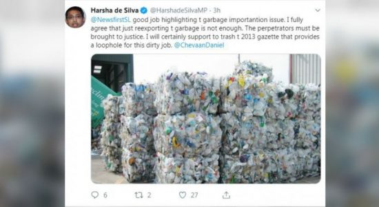 Dr Harsha de Silva supports returning garbage to sender