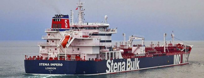 Satellite image shows seized British oil tanker in Iranian port city