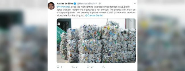 Dr Harsha de Silva supports returning garbage to sender