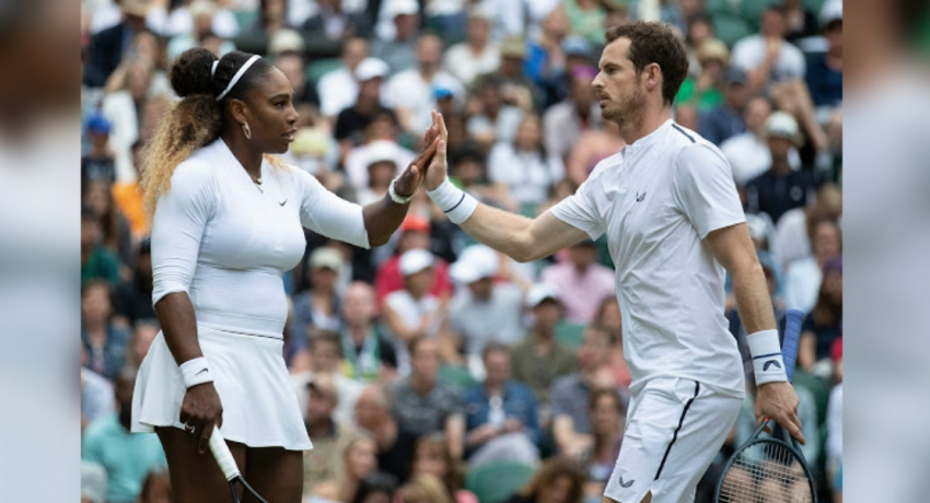 Andy Murray and Serena Williams win smooth match in mixed doubles