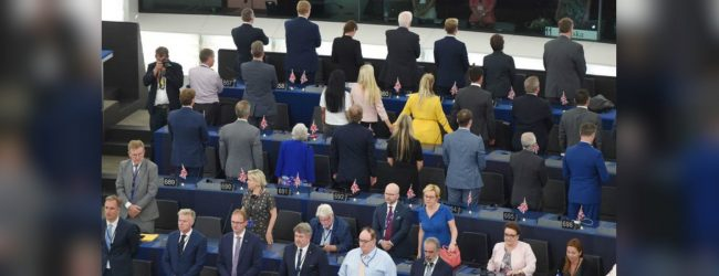 Brexit party MEPs turn backs on Ode to Joy at European parliament