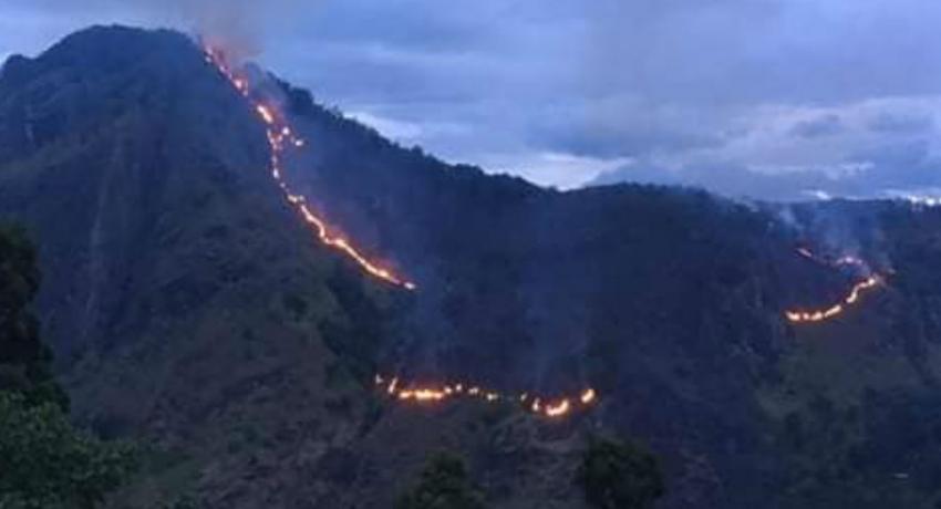 Ella forest fire reaches Ravana Ella falls