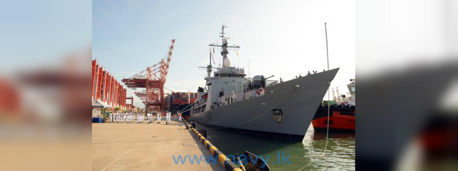 "Bangladesh Navy ship ""Somudra Avijan"" arrives at Port of Colombo"