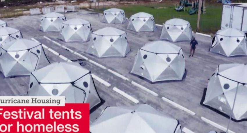 Music festival tents transformed into housing for Dorian homeless