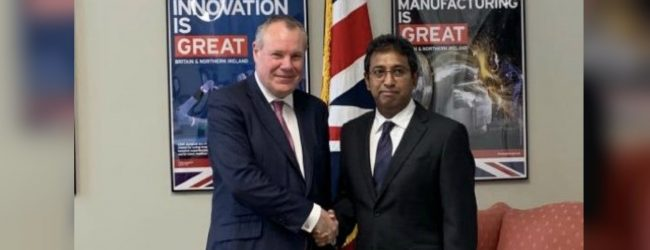 Non-Cabinet Min. Harsha de Silva meets UK Min. Conor Burns