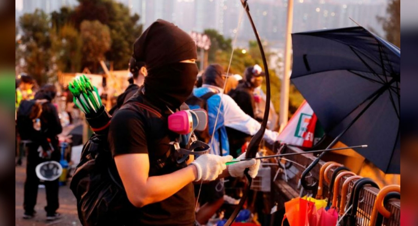 Flaming arrows and petrol bombs: Inside Hong Kong protesters' 'weapons factories'