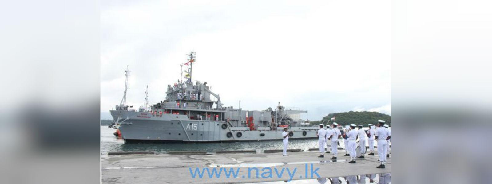 INS 'Nireekshak' arrives at Trincomalee harbour