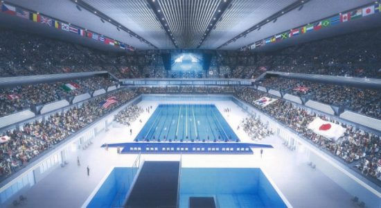 A first look inside the 2020 Olympic aquatics and volleyball arenas