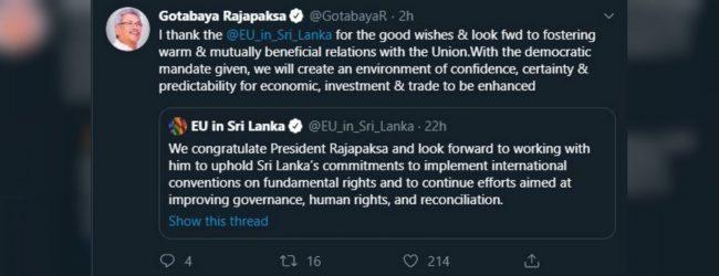 EU congratulates Gotabaya Rakapaksa
