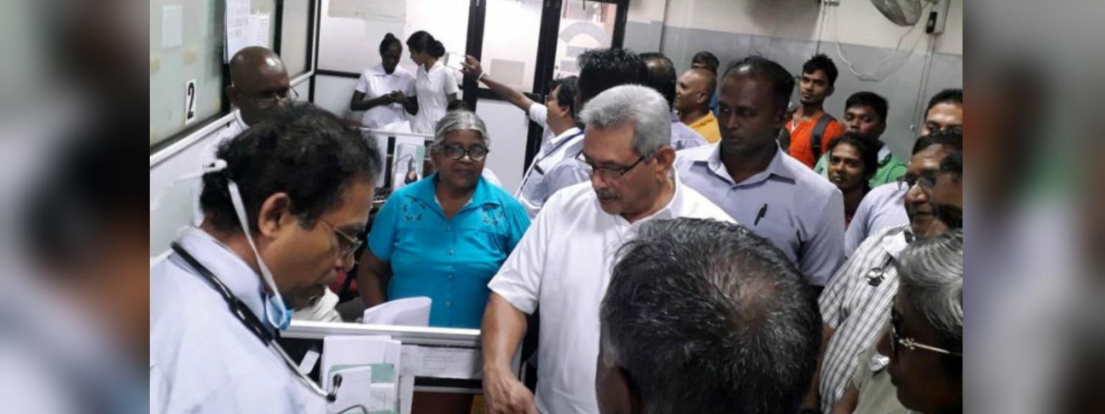 President visits Colombo National Hospital