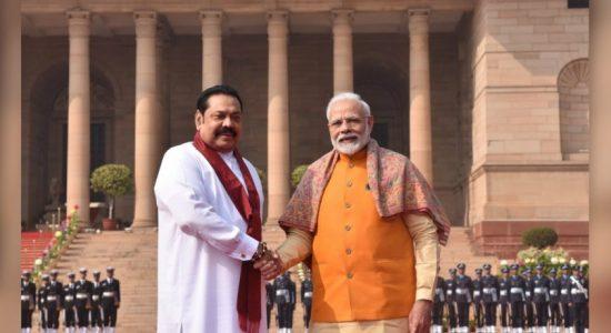 PM Mahinda Rajapaksa meets with Indian PM Narendra Modi
