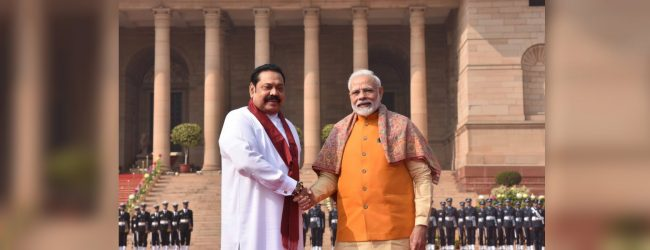 PM Mahinda Rajapaksa meets with Indian PM Narendra Modi