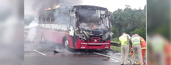 Bus traveling on Southern highway catches fire