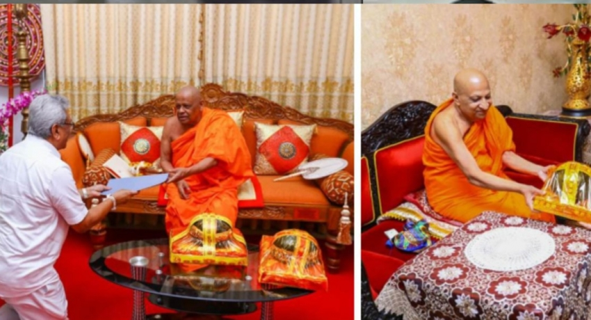 Temple of the Sacred Tooth Relic and Malwatte, Asgiriya chapters donate Rs. 2 billion to COVID-19 fund