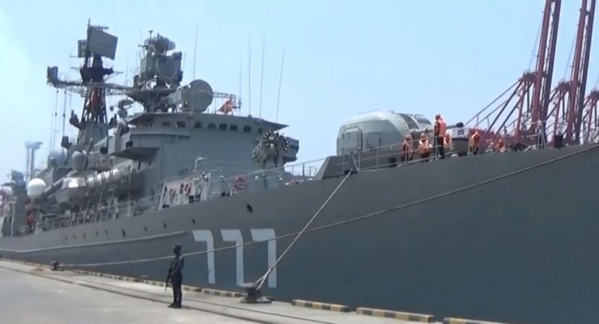 Two Russian Navy ships arrive at the port of Colombo