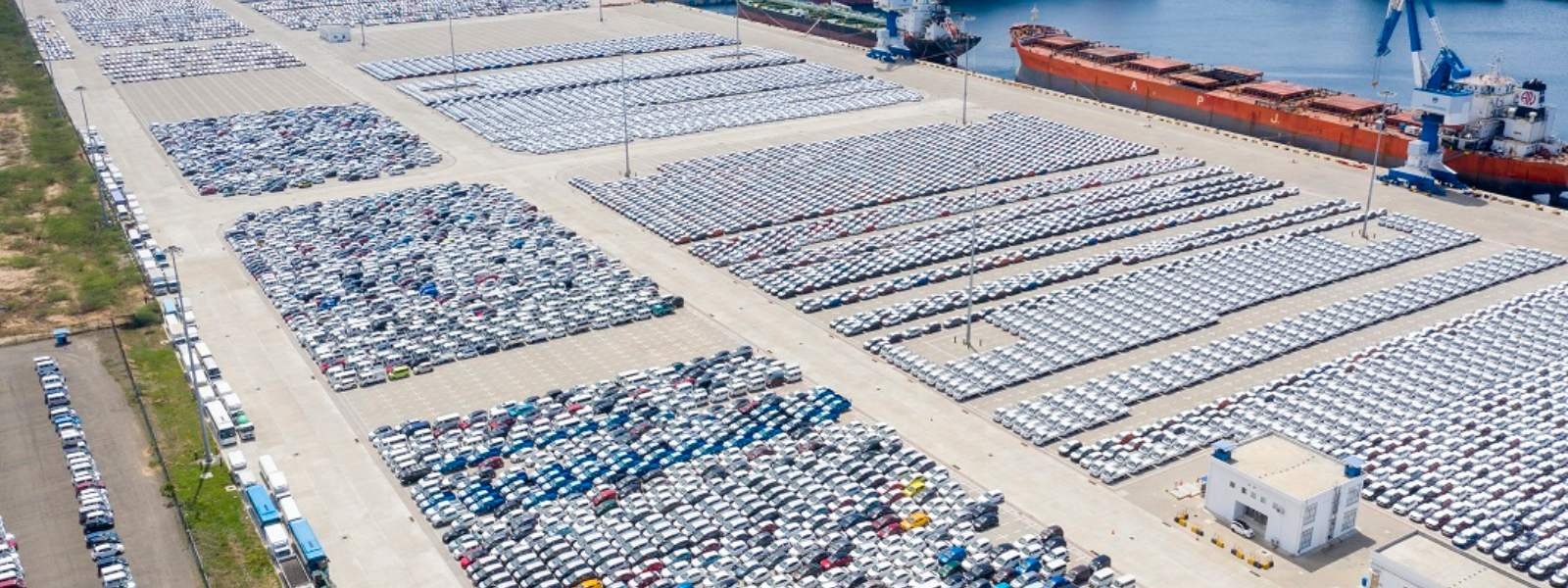Vehicle clearance at Hambantota International Port at a snail's pace