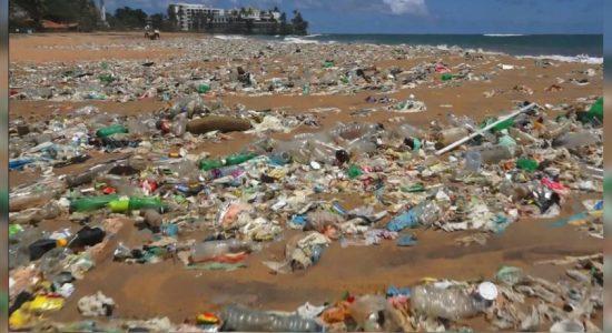 Large amounts of waste wash up on Mt. Lavinia beach