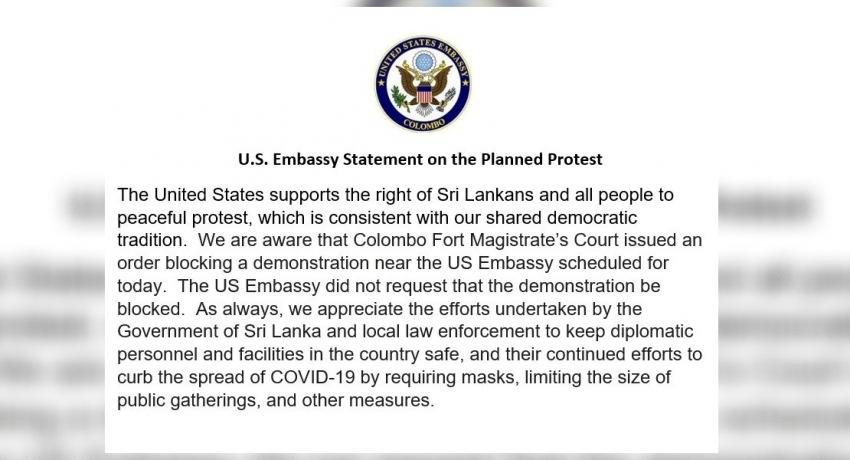U.S. Embassy claims it did not request for the demonstration in Colombo to be blocked