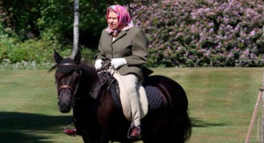 Britain's Queen Elizabeth, 94, pictured horseback riding during lockdown