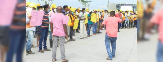 Local workers at Port City stage protest
