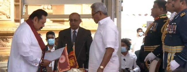 Mahinda Rajapaksa takes oath as 28th Prime Minister of Sri Lanka