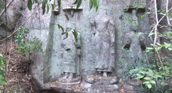 Three ancient Bodhisattva statues located in Budupatangala