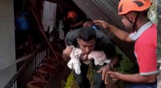 (VIDEO); Infant rescued from the rubble following Kandy building collapse