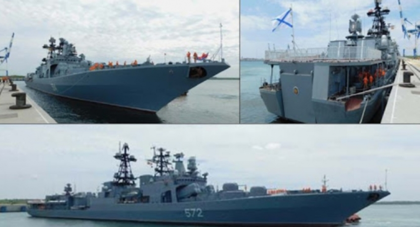 Three ships of the Russian Federation arrive at port of Hambantota