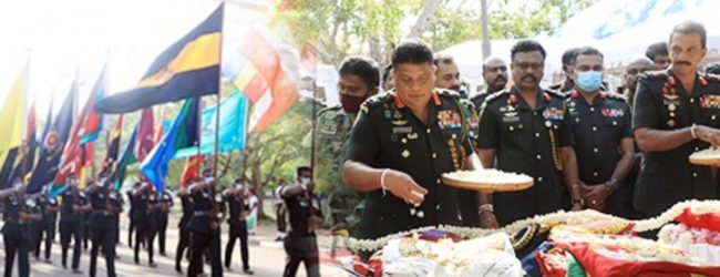 'Jaya Sri Maha Bodhi' Blessings Invoked Symbolically on Army Flags in Anuradhapura