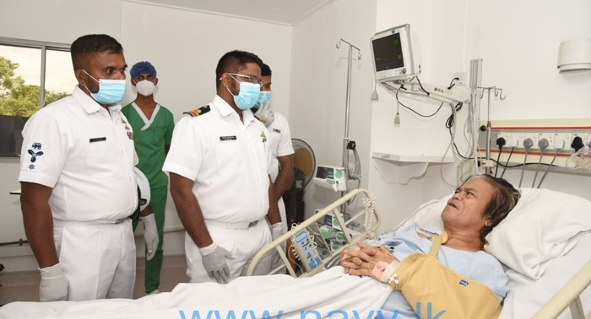 Navy rescue team visits injured 03rd Engineer of MT New Diamond