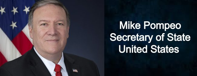US Secretary of State Mike Pompeo in Sri Lanka for official visit