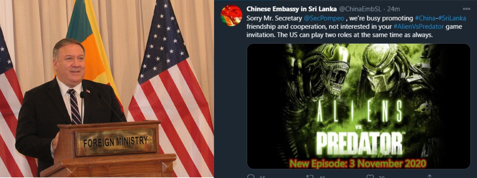 'AlienVsPredator' : China hits back at Mike Pompeo's comments