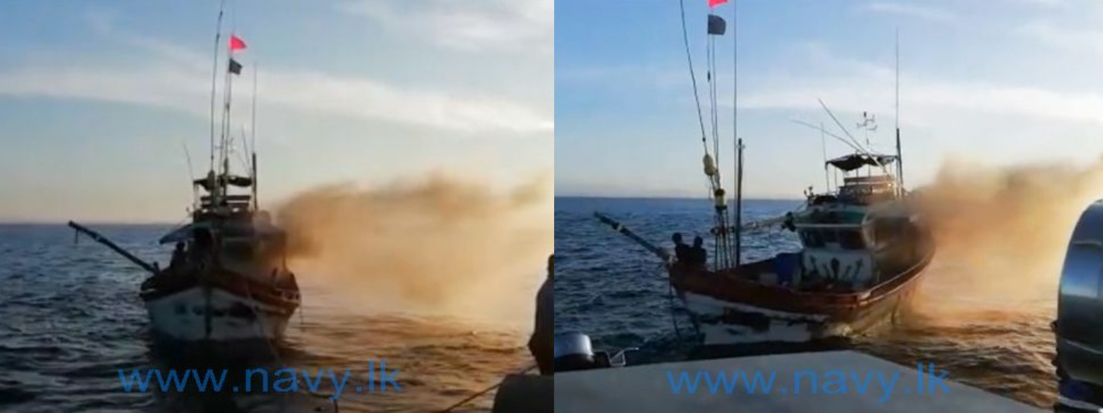 Navy safely brings ashore fire-hit fishing trawler during the weekend