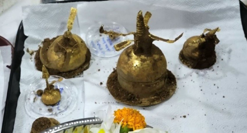 04 golden caskets discovered during excavation at Deegavapi Stupa