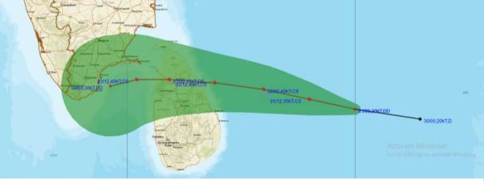 Cyclone to cross eastern coast of Sri Lanka on 02nd Dec.; Met Department