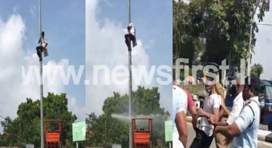 (VIDEO) Man climbs onto lamp post as last resort against council decision