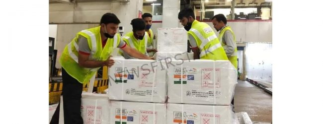 INDIA'S COVID VACCINE DONATION ARRIVES AT KATUNAYAKE