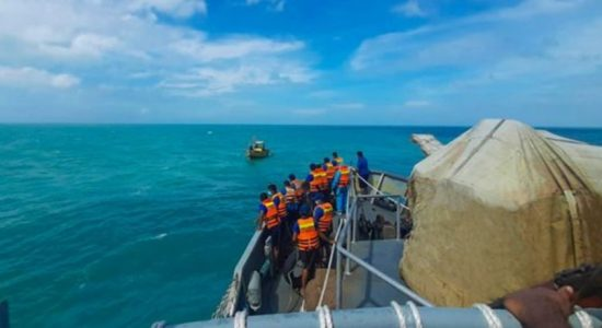 NAVY RESCUES LANKAN FISHERMEN FROM INDIAN WATERS