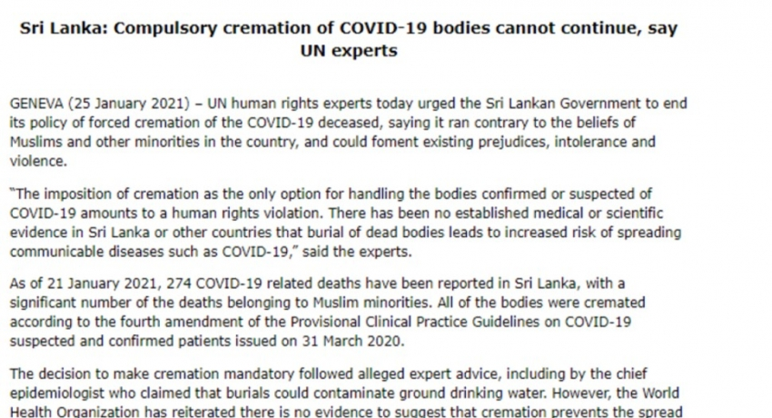 Compulsory cremation of COVID-19 bodies cannot continue, say UN experts