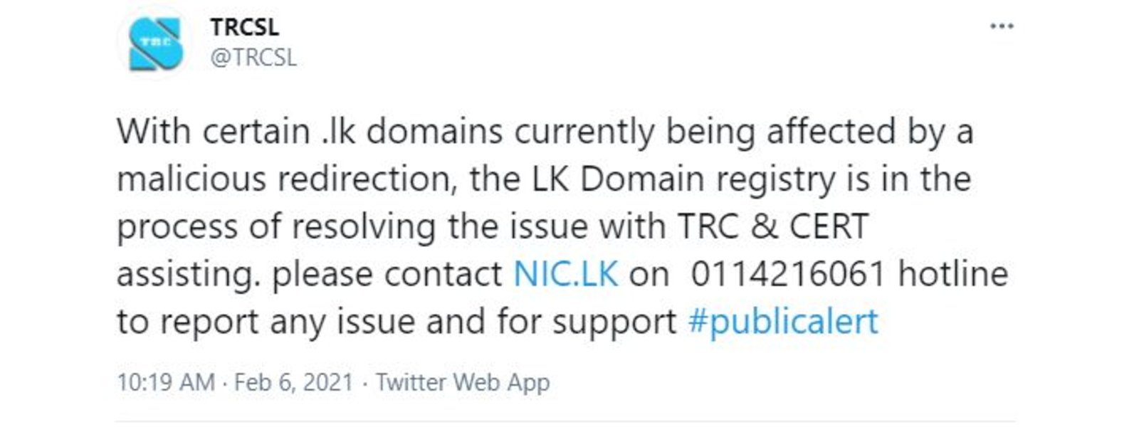 .LK domain affected by malicious redirection