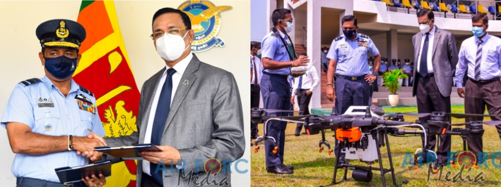 Marshal of the Air Force Roshan Goonetileke hands over Two Drones to SLAF