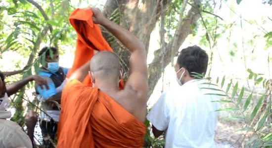 Buddhist Clergy in Sri Lanka ordain tree to protect it from Highway Construction